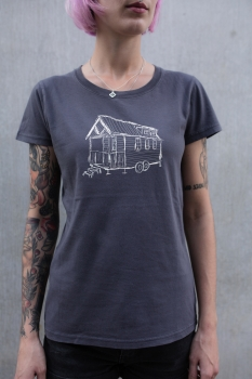 Tiny House (white) Women T-Shirt aus Biobaumwolle ILP05 - washed dark grey