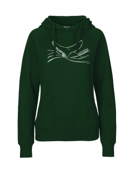"Fair gehandelter Bio Frauen Hoodie ""whale, by the sea"" vegan, organic & fair dark green"