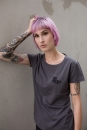 no small talk Women T-Shirt aus Biobaumwolle ILP05 - washed dark grey