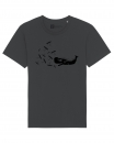 "Bio Faires Herren T-Shirt ""whale vs. ships old school"" graphit, printed on ST"
